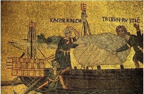 Dans les mosaïques : translation de Saint-Marc