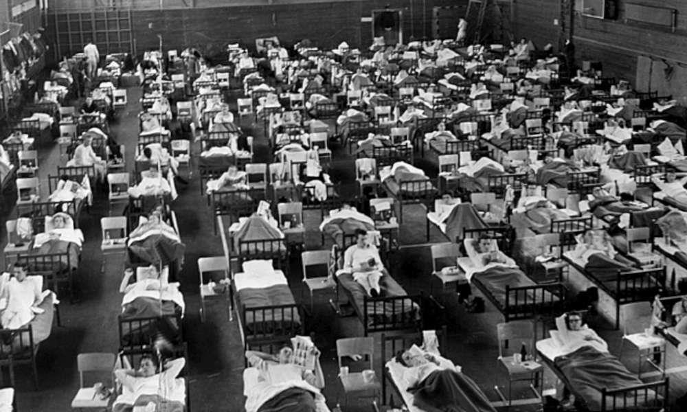 l'épidémie de grippe espagnole La bataille de Saint-Domingue Traitement épidémique de la grippe asiatique dans un hôpital de Suède, photo prise en 1957