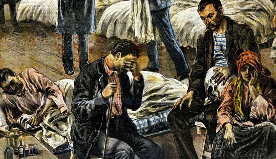 Un hôpital italien, Pendant l'épidémie de grippe espagnole
