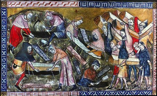 Enterrement des pestiférés Tapisserie La peste noire de Tournai